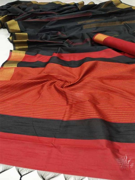 Stunning Black Color  Raw Silk Katha Weaving Saree
