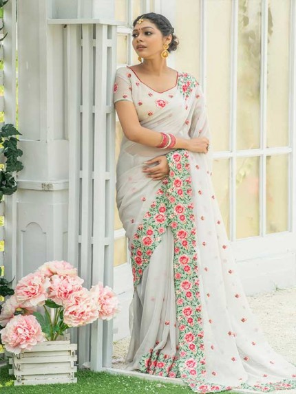 Married Season White Colour  Fancy embroidered work sarees