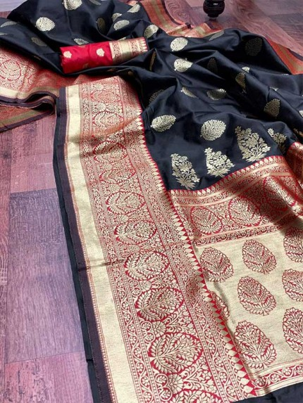 Black Colored Beautiful Pure Weaving Silk Meenakari Design Saree