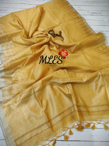 Soft Raw Tissue Silk Sarees With Temple Woven Dual Shade