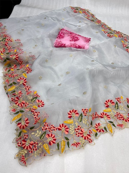 Unique Style Organza embroidery Saree with hand stone work