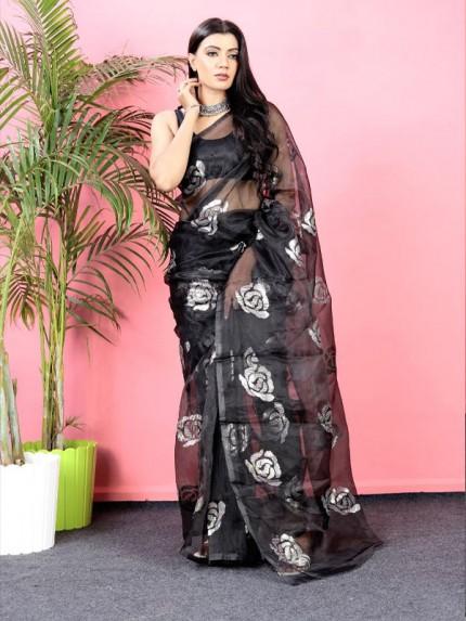Floral Designer Organza Sequence work Saree with Sattin silk blouse