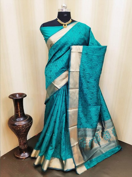 Classic Look Cyan Color Satin Silk Saree With AllOver weaving work