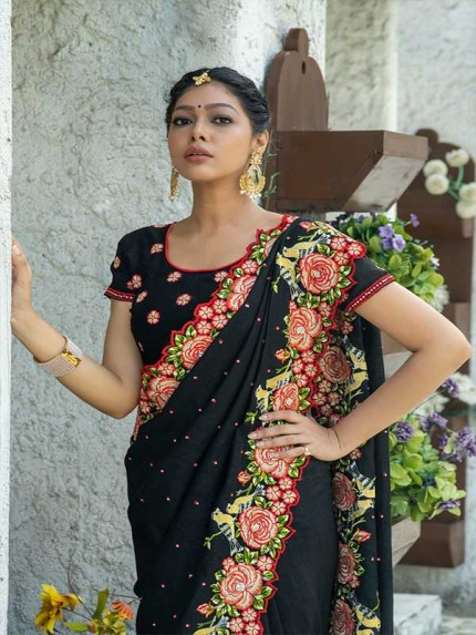 Married Season Black Colour  Fancy embroidered work sarees
