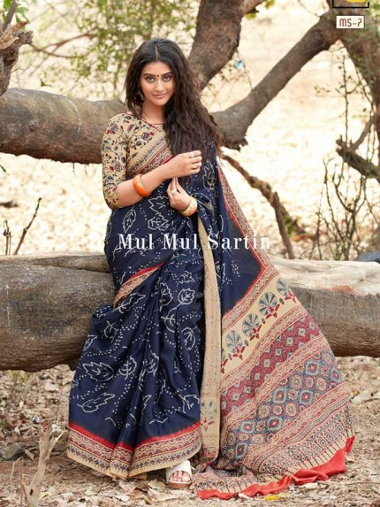 Classic Look Multi Color Pure Sattin Silk With Floral Print Saree