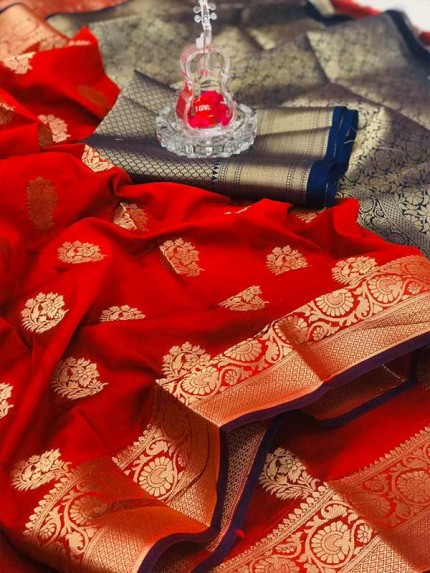 Special Edition Red Color Soft Silk gold Zari with weaving design border