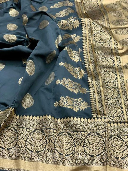 Grey Colored Beautiful Pure Weaving Silk Meenakari Design Saree