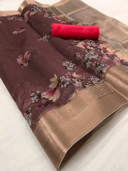Trending Brown Colored Pure Organza Saree