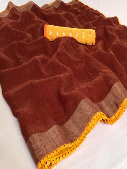 Elegance Look Brown Colour Cotton Saree