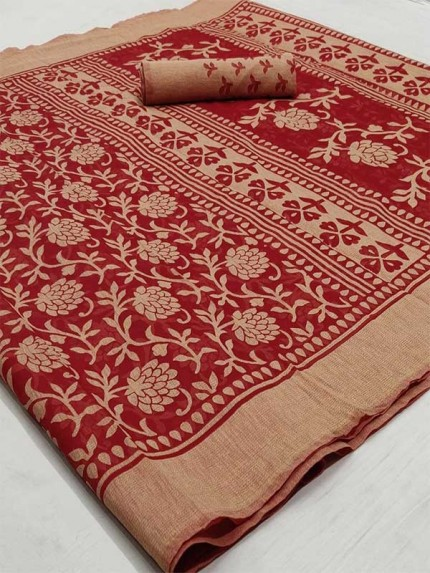 Beautiful Red Color Chiffon Fabric  Saree with Blouse