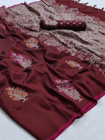 Married Season Brown Color Soft Weaving Silk Saree