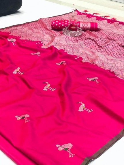 Pink Colored soft silk weaving jecard saree with reach pallu