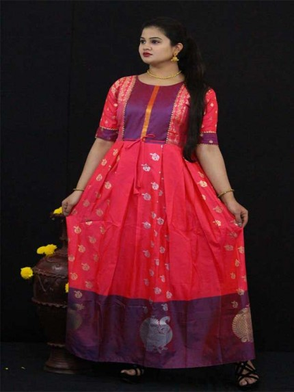 Summer Special Pink color Soft Silk Kanchipuram Style Kurti