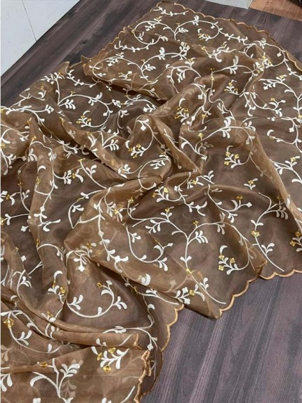Festival Season Organza Saree with exotic artistically handcrafted with zari jal