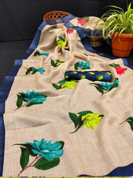 Floral Style Pure linen Digital Printed Saree