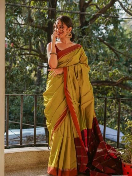 Beautiful Chanderi Linen Digital Print Saree with Banglori Satin Blouse