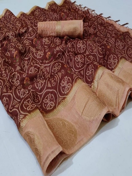 Rich Look Cotton digital Printed Saree with jequard border