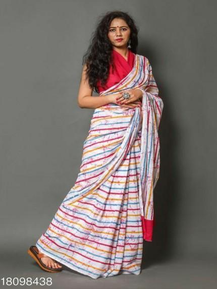 Digital Printed Soft Chanderi Linen Print Saree with Banglori Silk Blouse