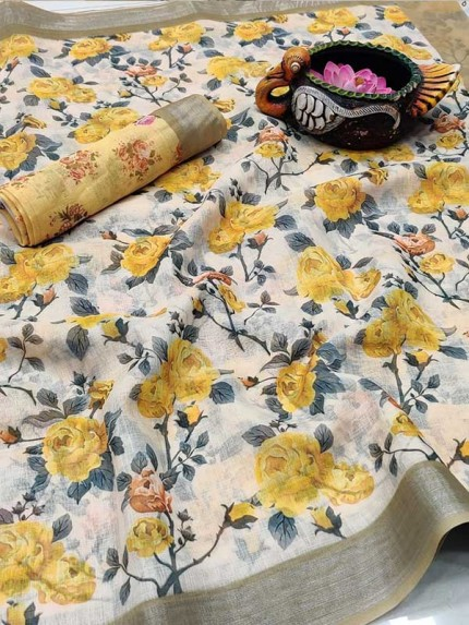 Pure Soft Linen Saree With Beautiful Water Flower Digital Prints