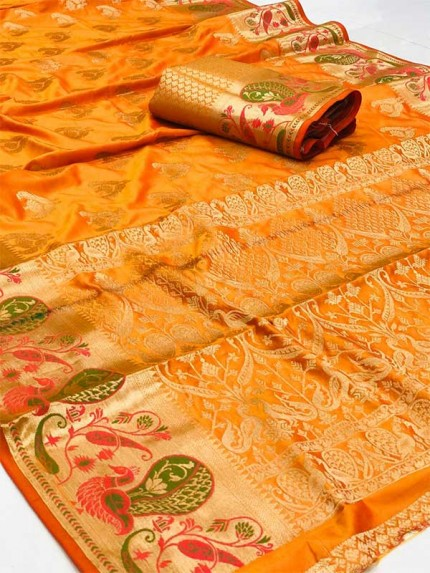 Stunning Look Orange Colour Banarasi Handsome Soft  Silk Saree