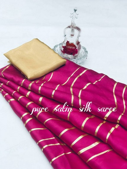 Classic Look Pink Color Pure Satin Silk With Floral Print Saree