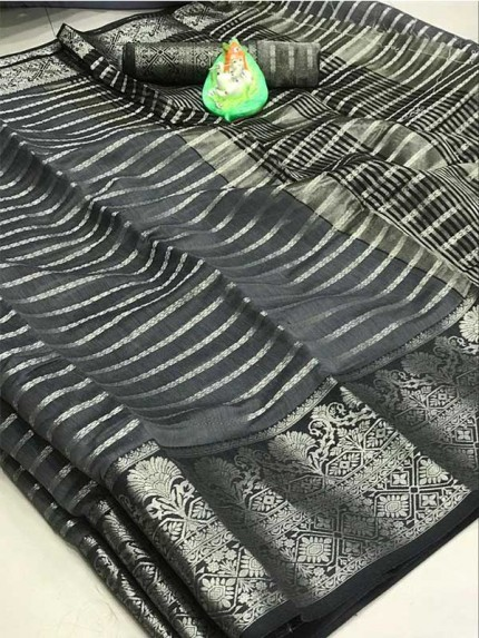 Elegance Look Grey Colored Soft Cotton Weaving Saree