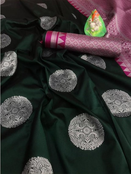 Beautiful Look Dark Green Color Lichi Silk weaving Jacquard Saree