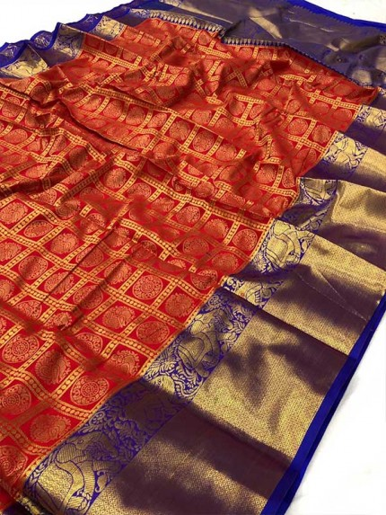 Attractive Look Red Colour Kanchipuram style Banarasi Silk weaving saree with beautiful zari work