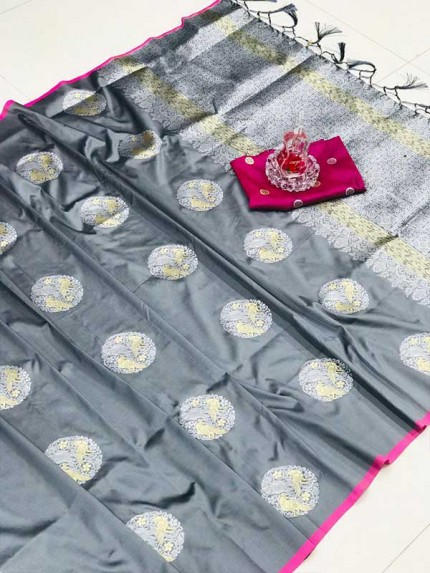 Stunning Look Grey Colour Banarasi silk weaving saree with  reach pallu