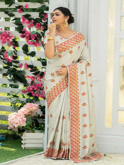 Married Season Cream Colour  Fancy embroidered work sarees