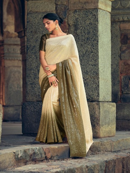 Hit Design Premium Georgette Sarees Soft print With Sequence All in one