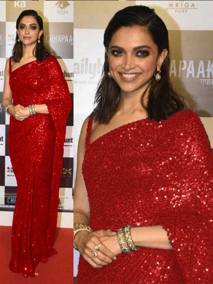 Elegance Look Georget  Red Colored Georgette Net Saree With Blouse
