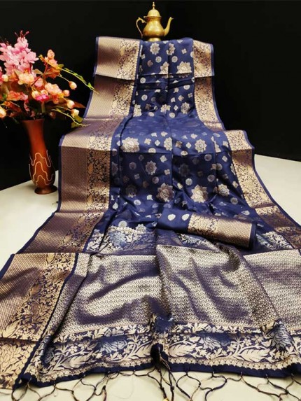 New Eye Catcher Blue Color Mysore Silk Saree With Silver And Gold Zari Weaves